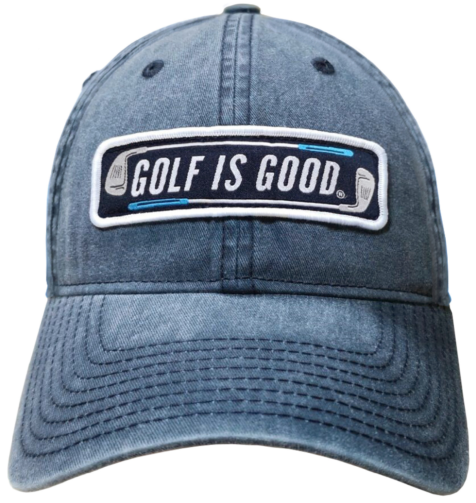 Golf is Good ® Washed Navy Adjustable Cap by Life is Sports LLC (Full Cotton)
